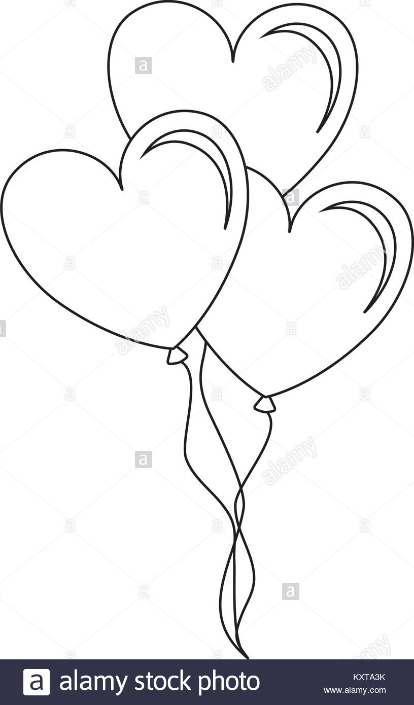 Heart Shape Balloons Black and White Stock Photos & Images.