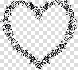 Valentine day lace, heart shapes black transparent background PNG.