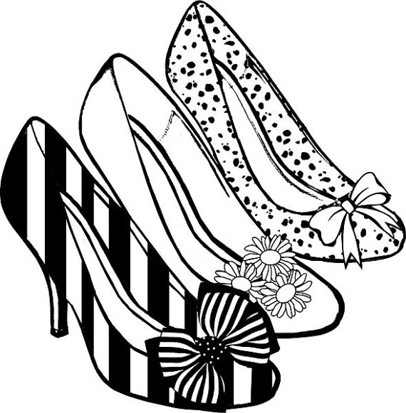 Womens high heel shoes clipart png clip art coloring page digital.
