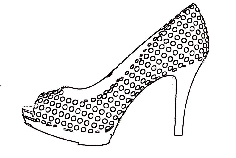 Polka dot high heels.