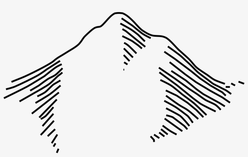 Mountain Underarm Mountain Outline, Map Symbols, Clip.
