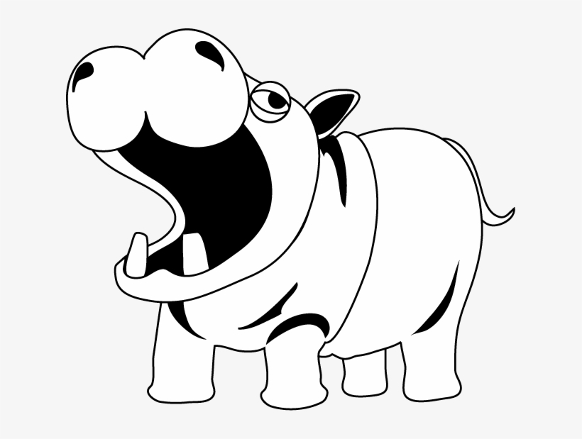 Hippo Clipart Black And White.