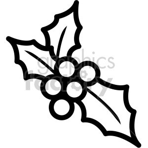 black and white christmas holly berries vector icon . Royalty.