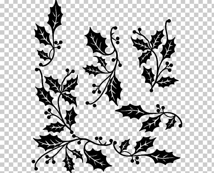 Common Holly Black And White PNG, Clipart, Artwork, Black, Black And.