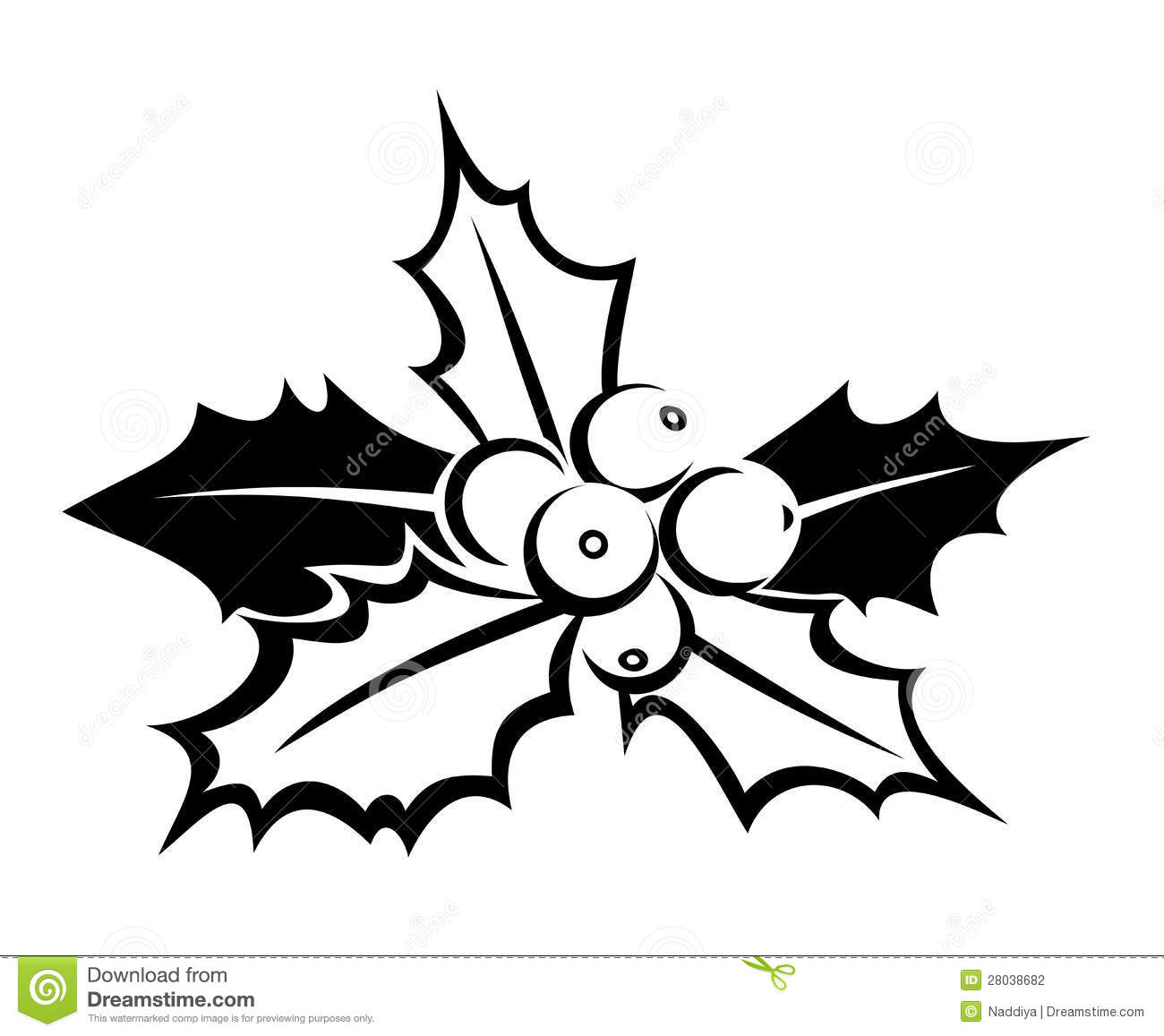 Black Silhouette Of Holly. Vector Illustration. Stock Vector.