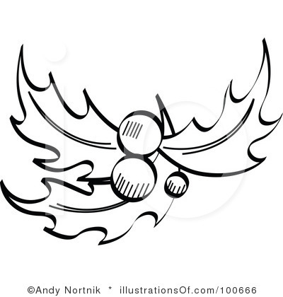 Holly Clipart Black And White.