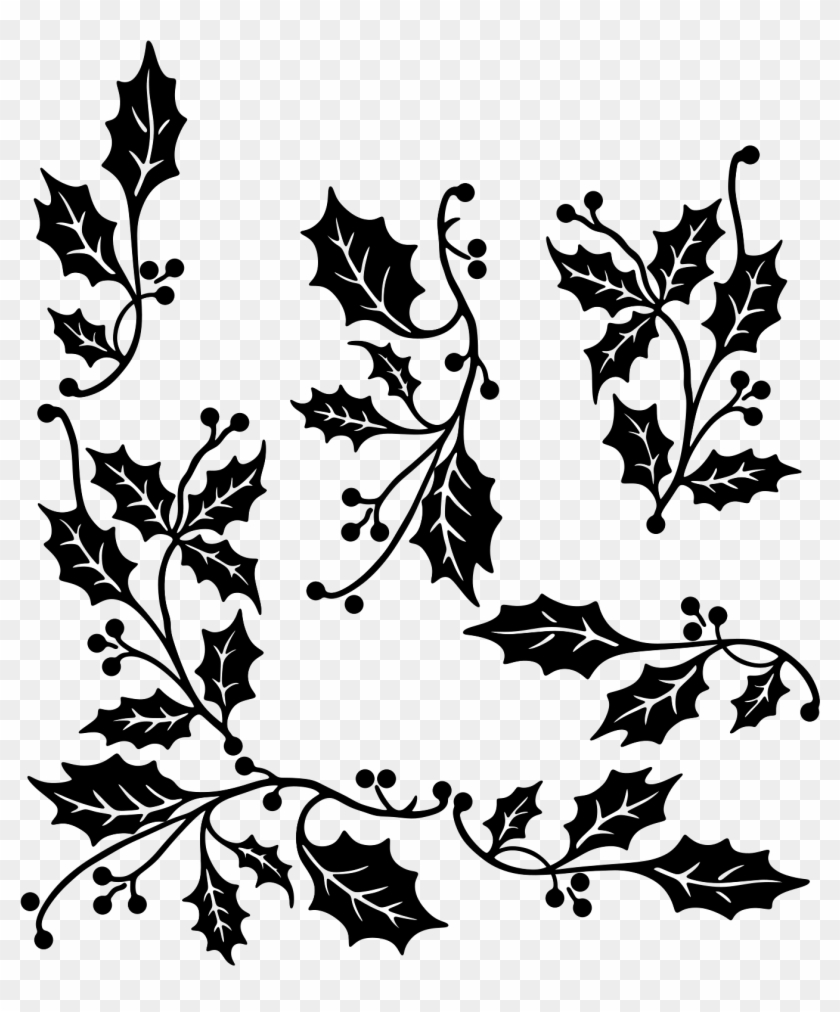 Holly Christmas Clipart Black And White, HD Png Download.