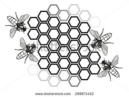 Flat Honey Bee in Honeycomb Illustration Silhouette.
