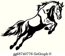 Black And White Horse Clip Art.