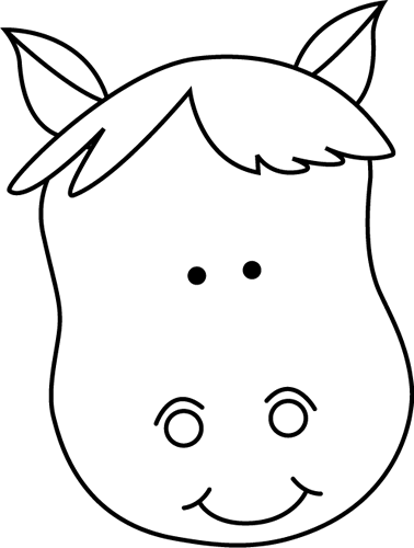 Black and White Horse Head Clip Art.