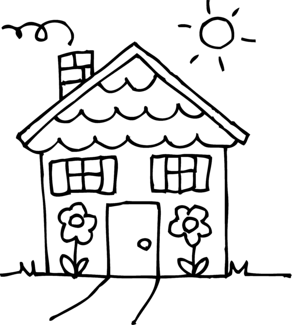 Free clip art of house clipart black and white 3.