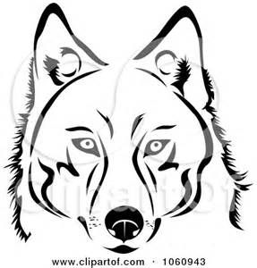 black and white siberian husky clipart.