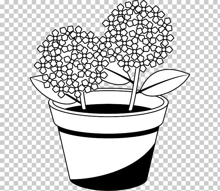 Flowerpot Black and white French hydrangea , flower PNG.