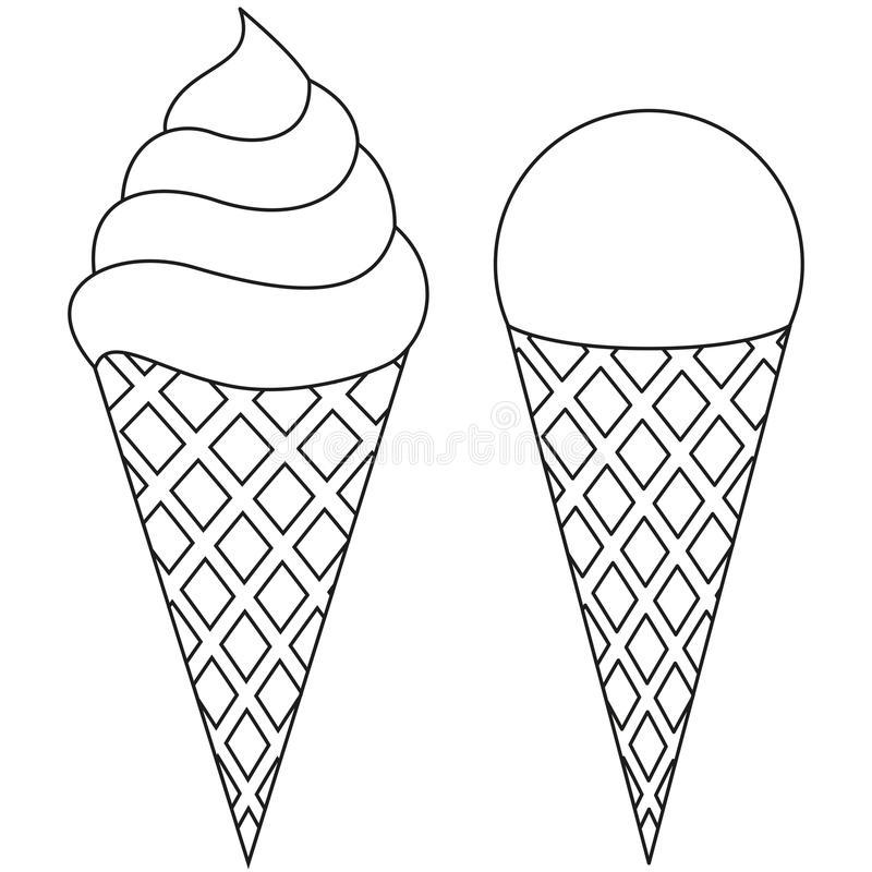 Ice Cream Cone Black And White Clipart.