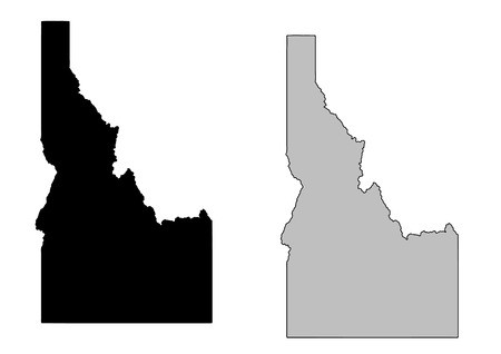 Idaho map. Black and white. Mercator projection.: Royalty.