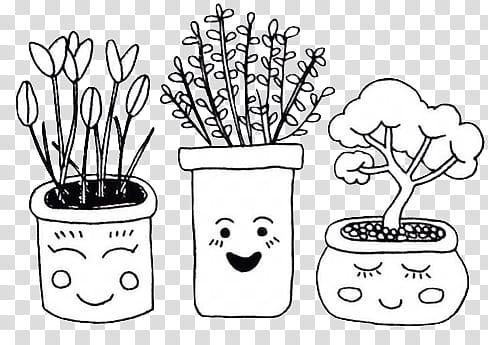 three white and black plant on pot illustrations transparent.