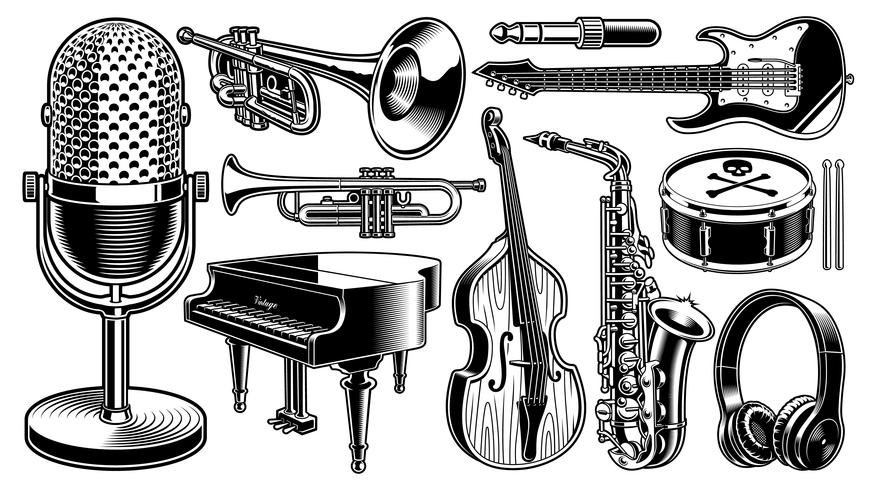 Set of black and white illustrations of musical instruments.