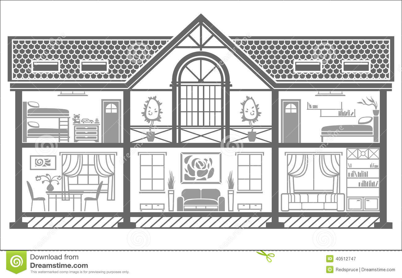 Black and white image of house interior clipart clipground for Interior house design clipart