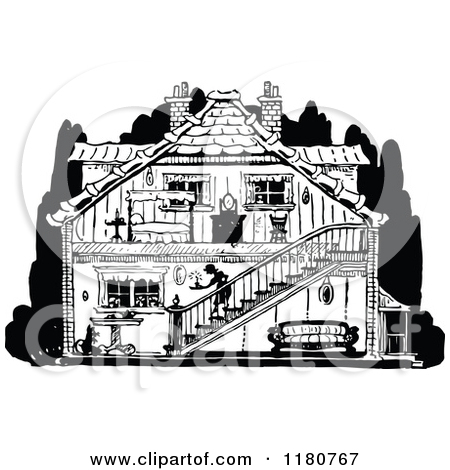 Black And White Image Of House Interior Clipart.