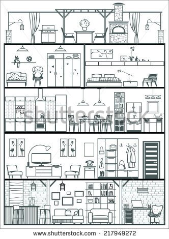 Black And White Image Of House Interior Clipart 20 Free