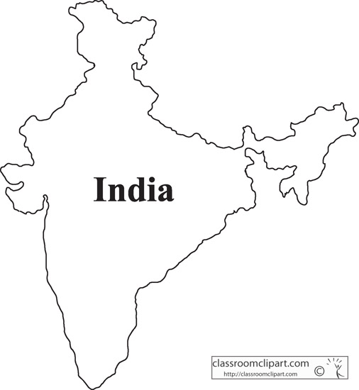 India map clipart black and white.