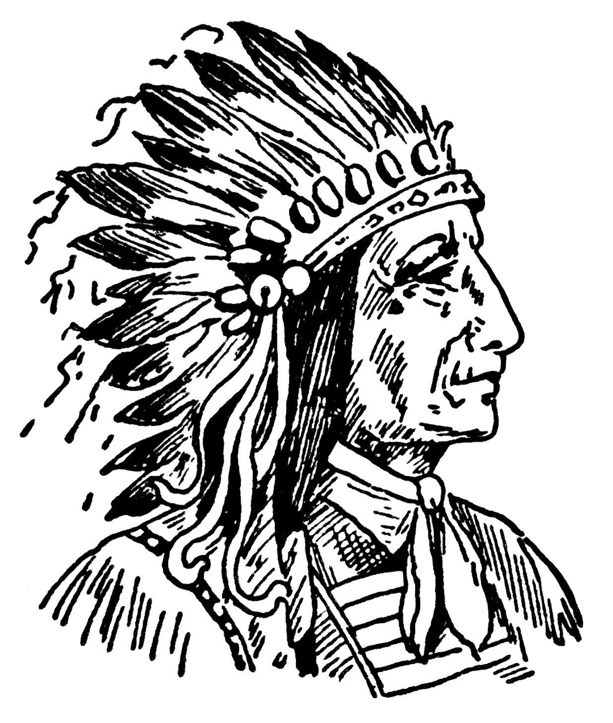 Indian chief clip art, vintage Native American illustration, black.