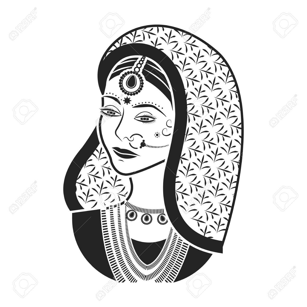 Indian woman icon in black style isolated on white background.