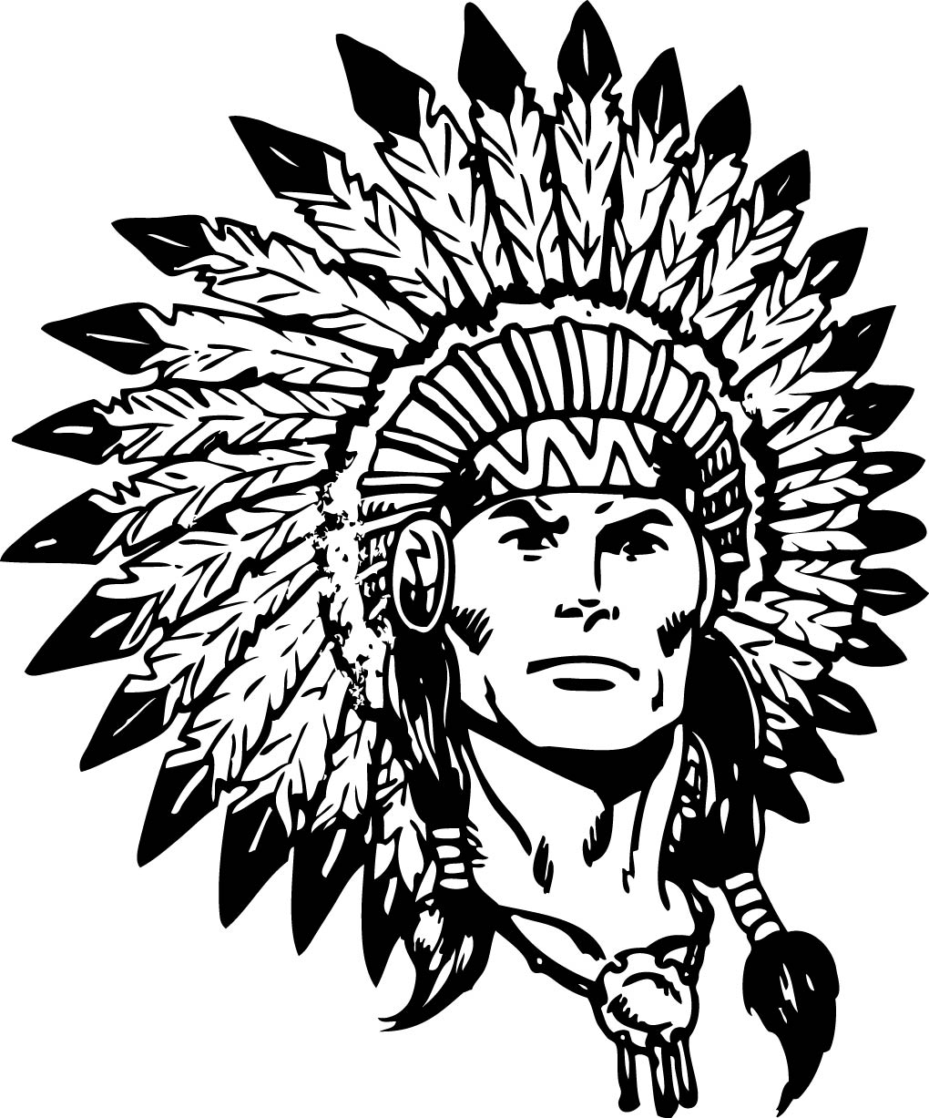 Indian Chief Black And White Clipart.