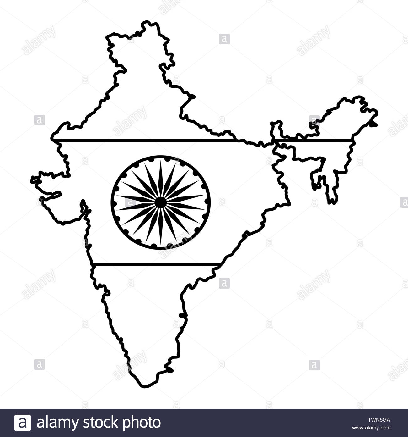 India Flag Black and White Stock Photos & Images.