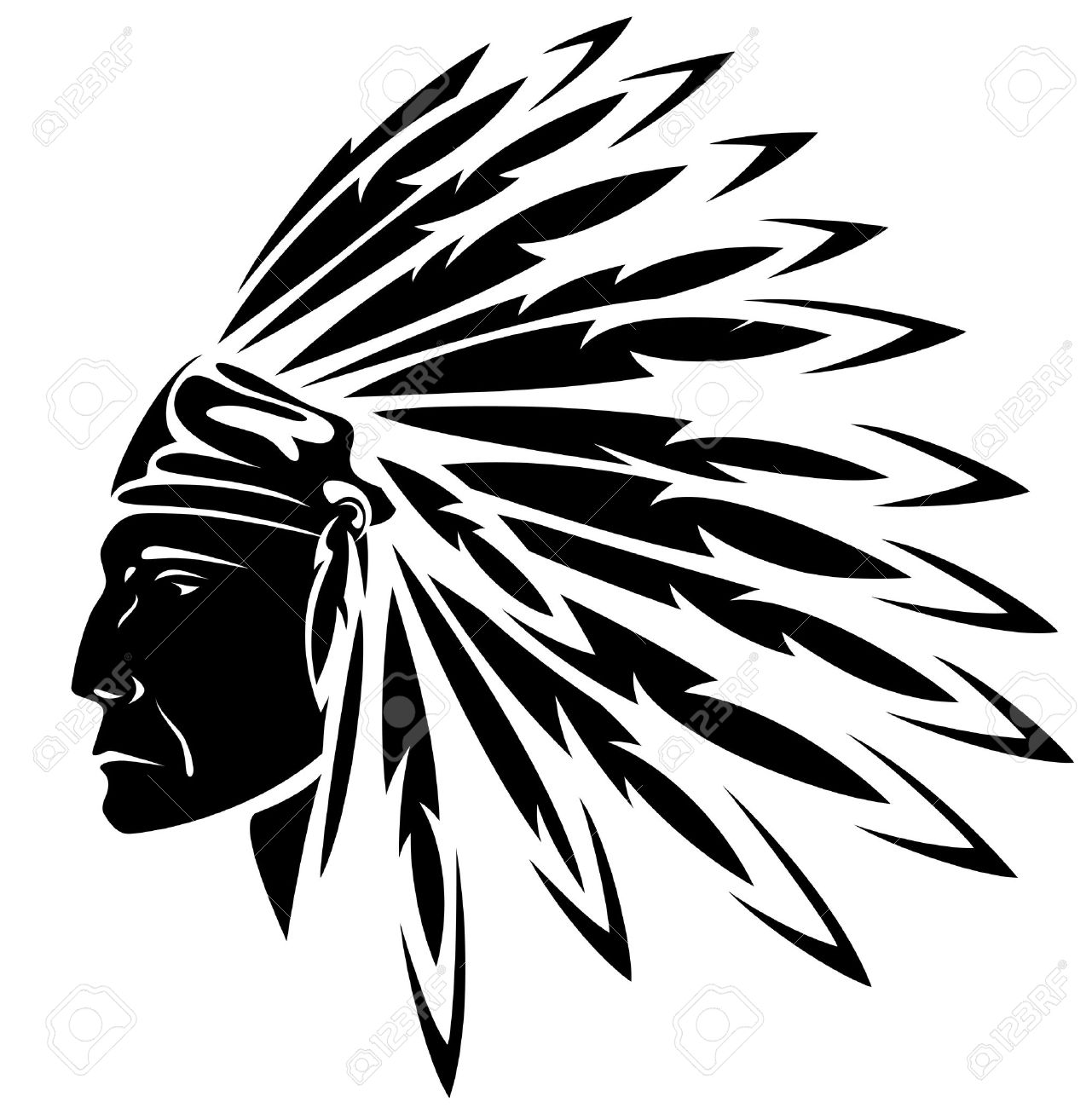 red indian chief black and white illustration.
