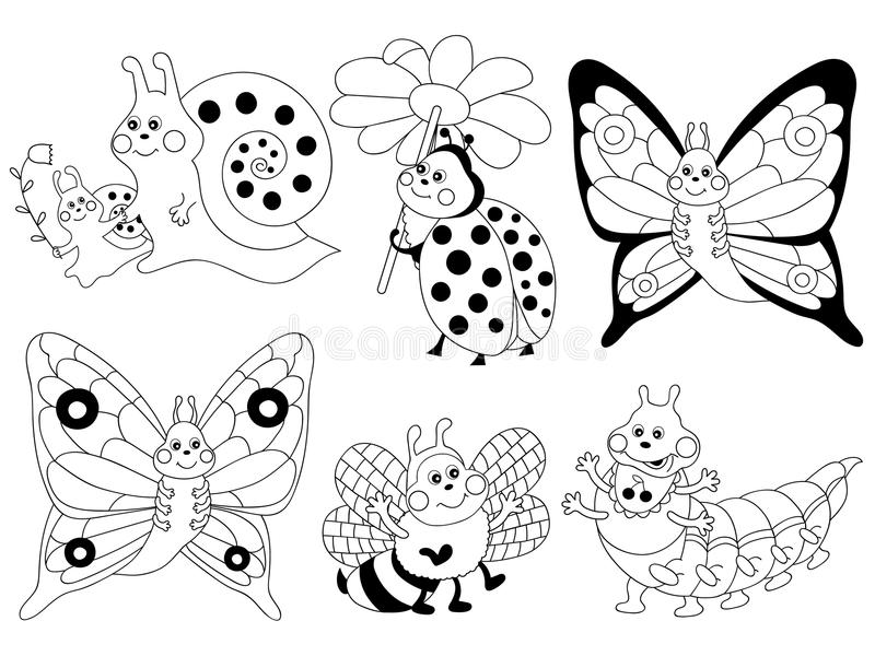 Vector Cartoon Insects Set, Insects Clipart Stock Vector.