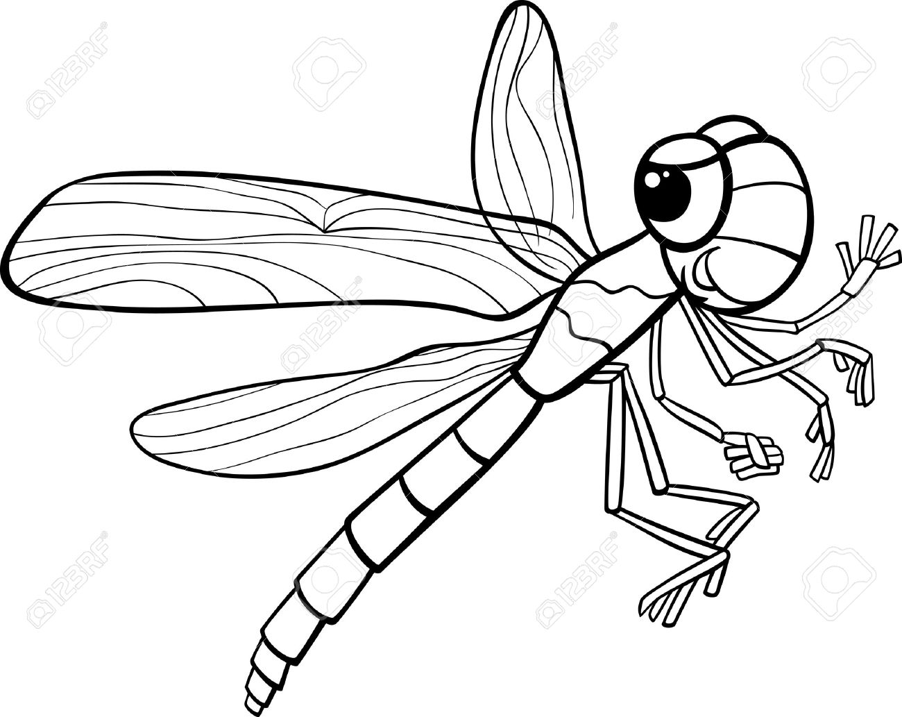 Black and White Cartoon Illustration of Funny Dragonfly Insect...