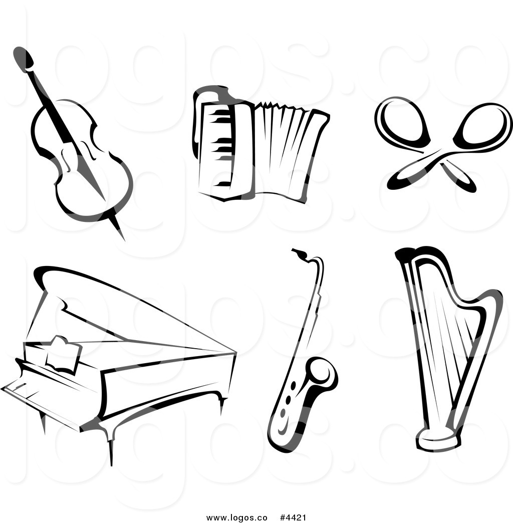 Royalty Free Black and White Instruments Collage Logo by.