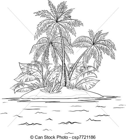 Clip Art Black and White Seascape.