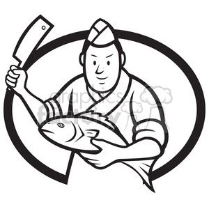 black and white japanese sushi chef fish knife OVAL clipart. Royalty.