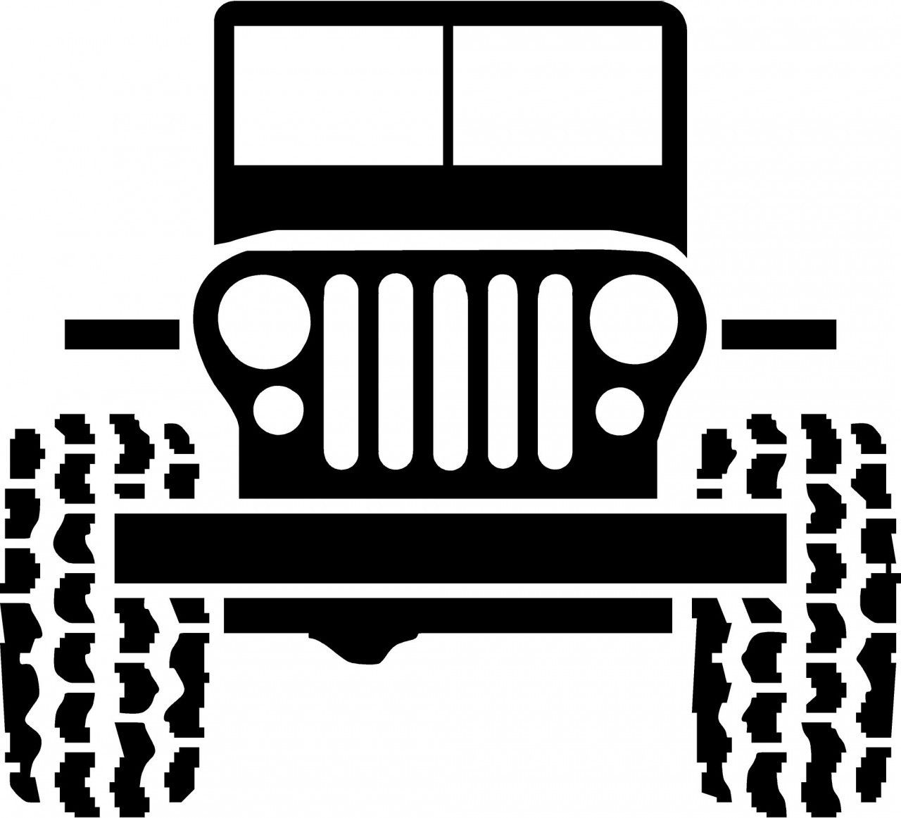 black and white jeep cartoon.