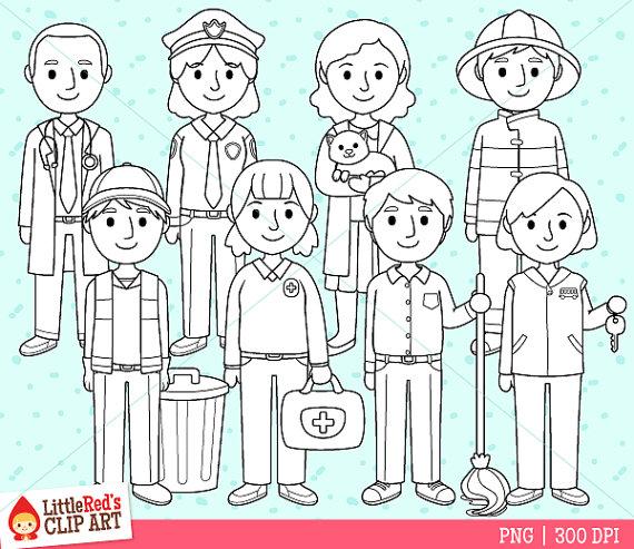 Community Helpers Job Clip Art and Line Art.