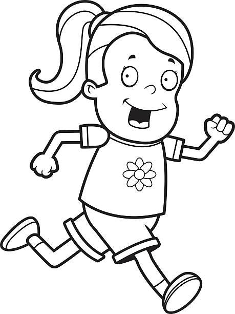 Girl Running Clipart Black And White.