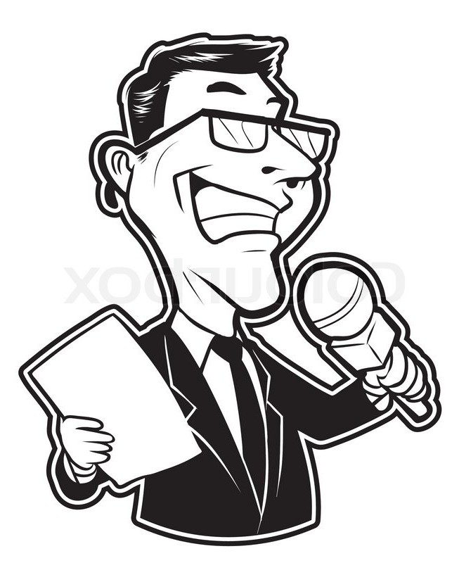 News Reporter Clipart Black And White.