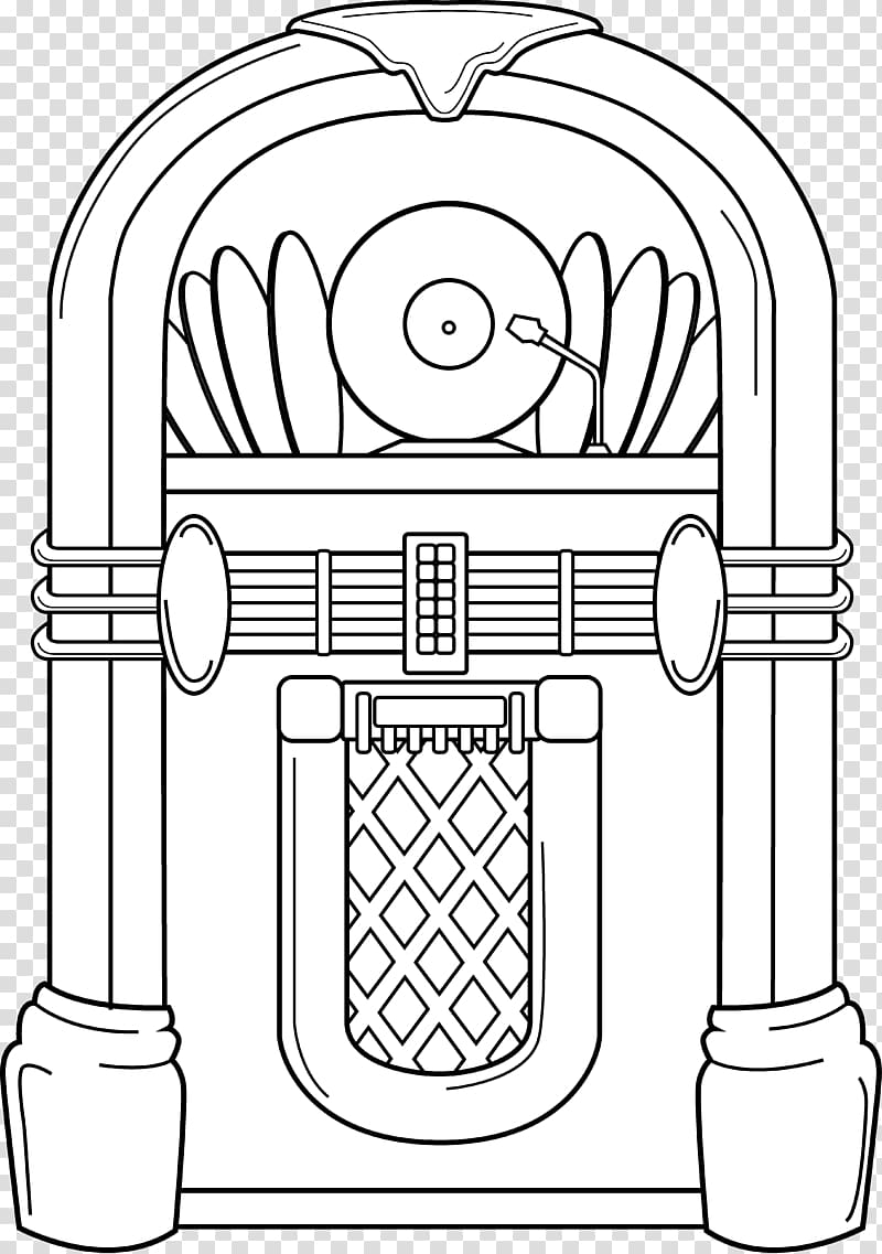 Jukebox Coloring book , others transparent background PNG.