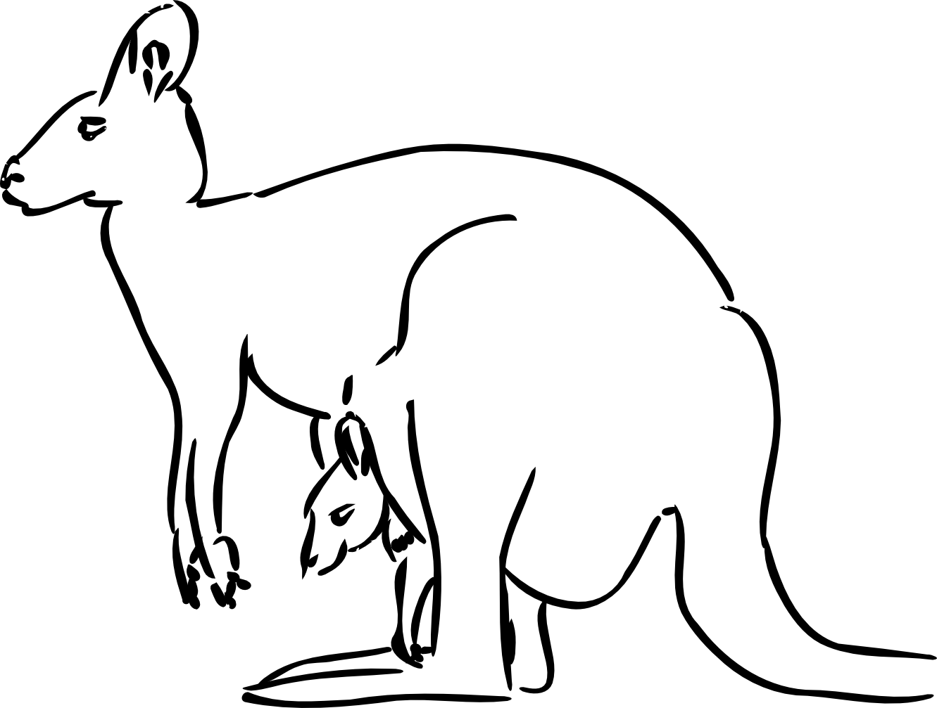 Kangaroo Clipart Black And White.