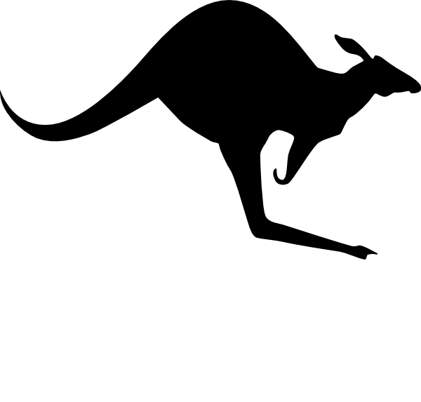 Kangaroo clipart black and white, Kangaroo black and white.