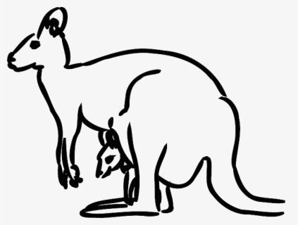 Free Kangaroo Black And White Clip Art with No Background.