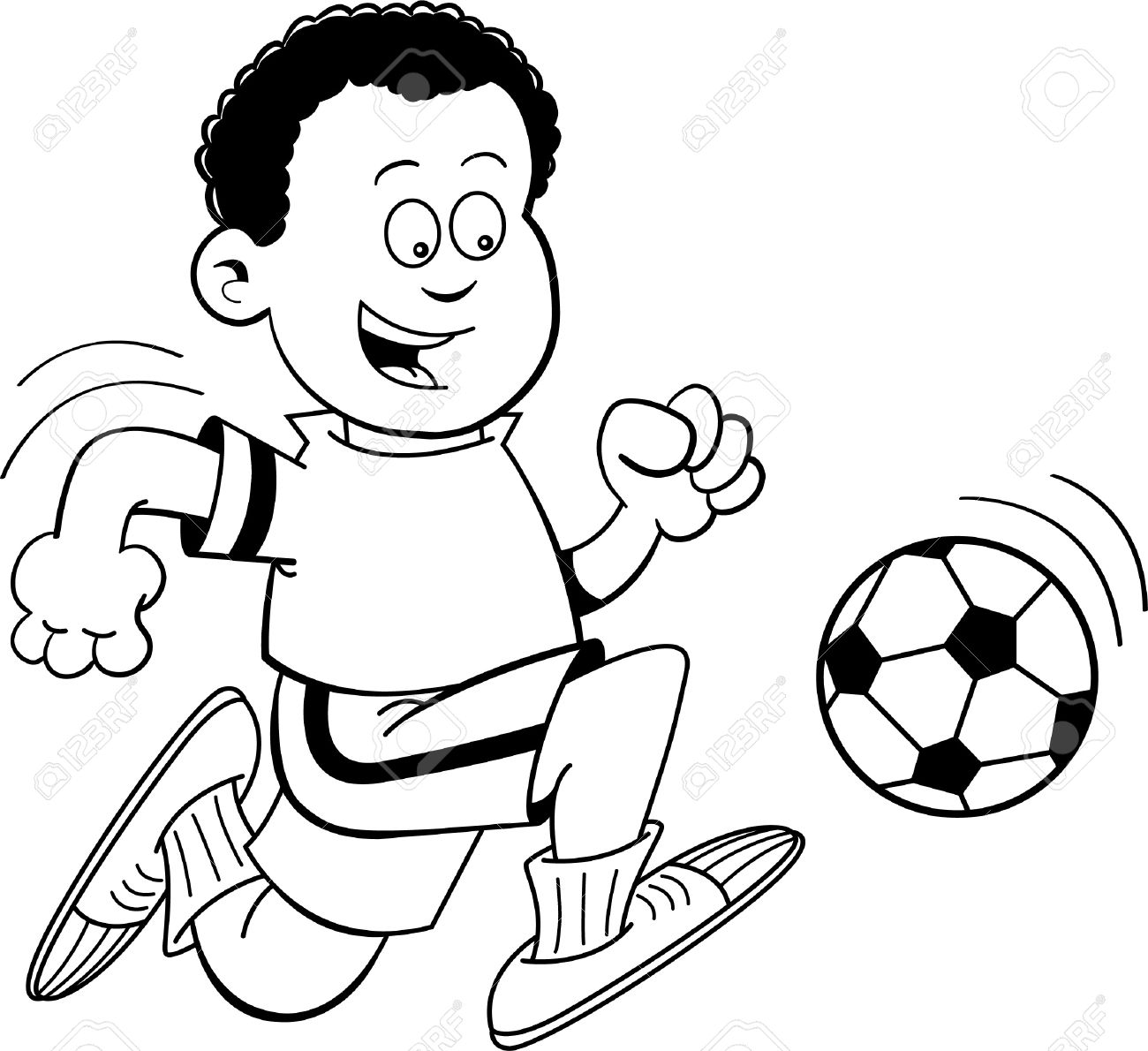 Kicking Ball Clipart Black And White.