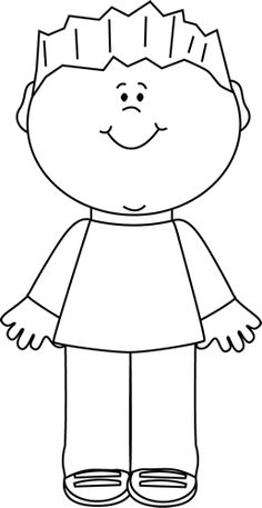 Little Kid Clipart Black And White.