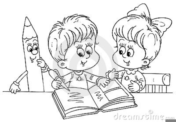 Black And White Clipart Of Kids Reading Books.
