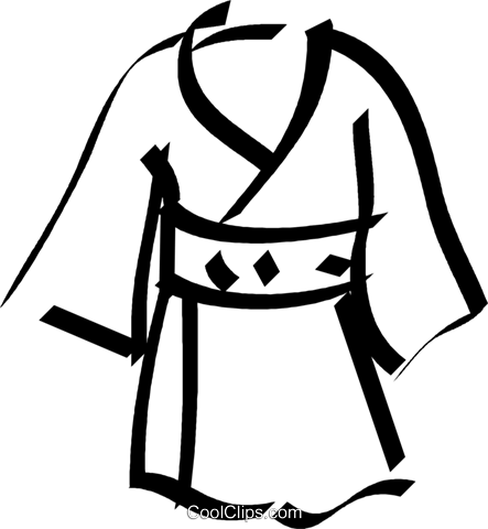 Japanese kimono Royalty Free Vector Clip Art illustration.