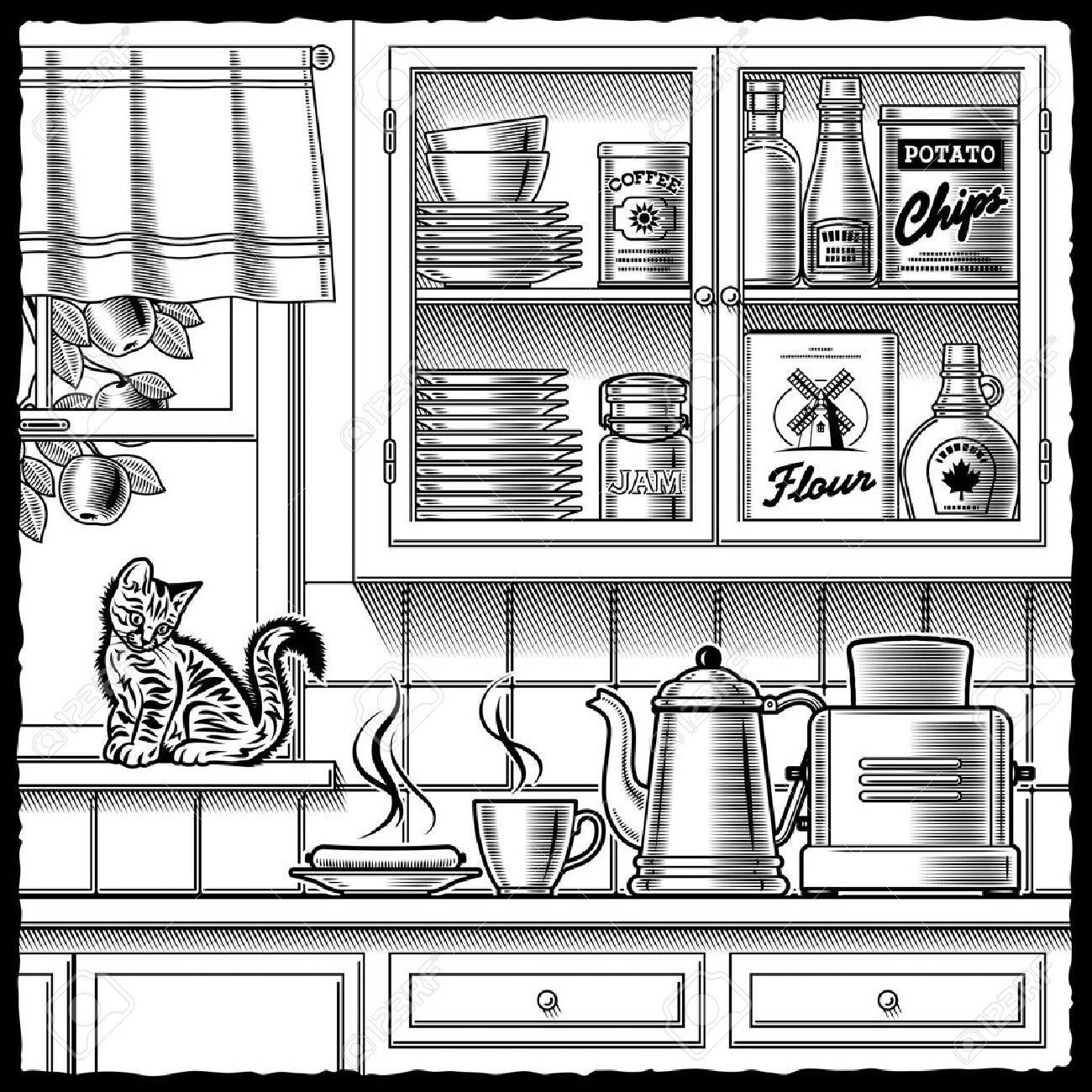 Kitchen Clipart Black And White.