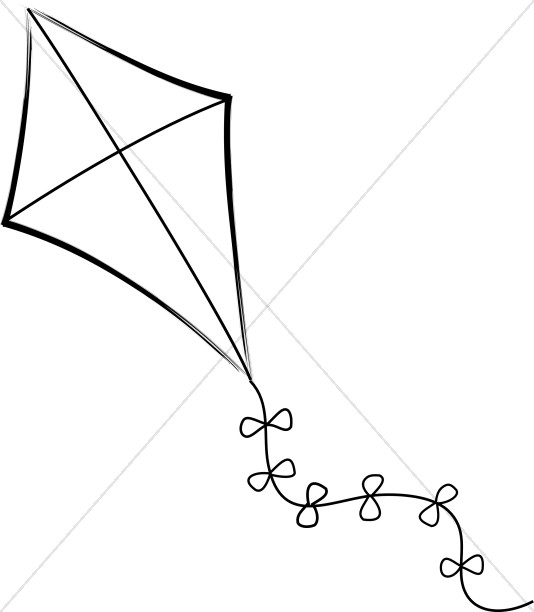 Kite Black And White Clipart.