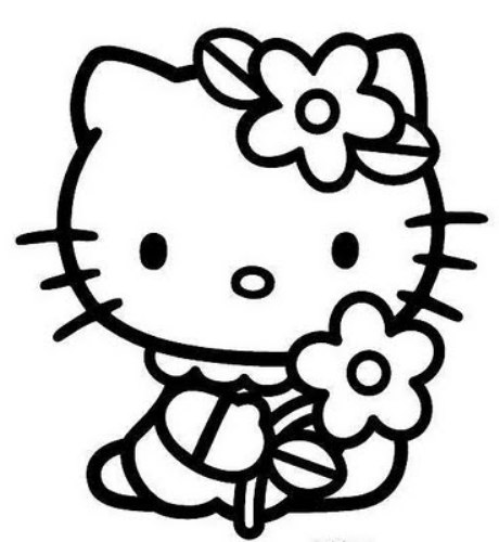 Hello kitty black and white free clipart.